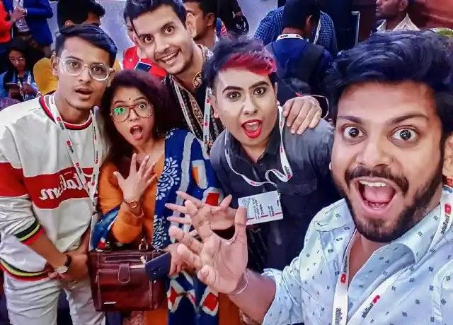 Sandy Saha with popular bengali YouTubers
