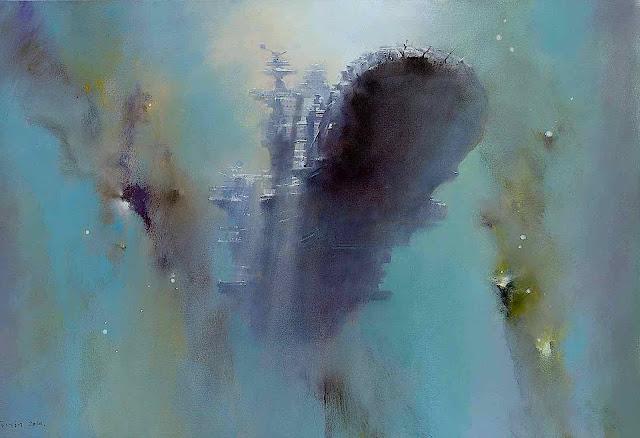 John Harris 2016 art, an underwater view of a battleship in war