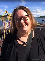 Bildet av Gro Jeanette  er tatt på den  årlige sommerlunsjen  på Aker Brygge.