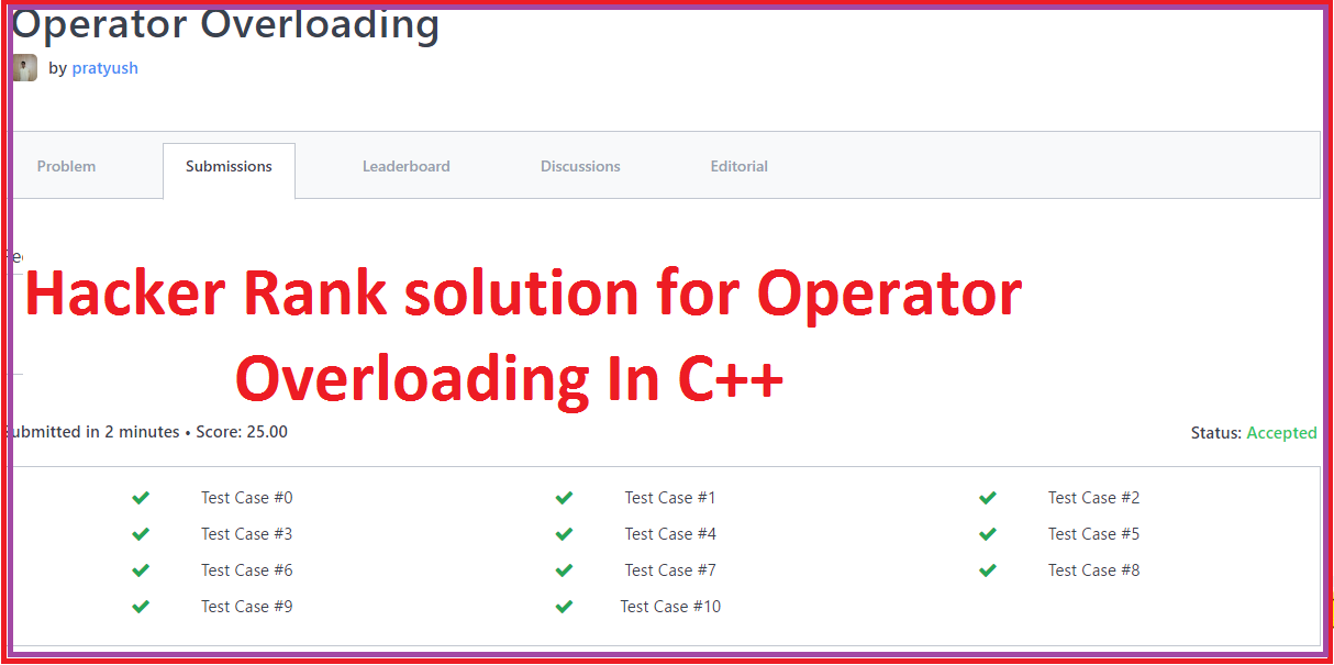 Hacker Rank solution for Operator Overloading In C++