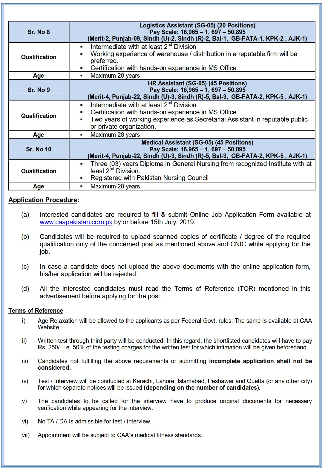 Civil Aviation Authority Jobs 2019 July Apply Online Accounts Assistant IT Assistant & Others – Latest Jobs