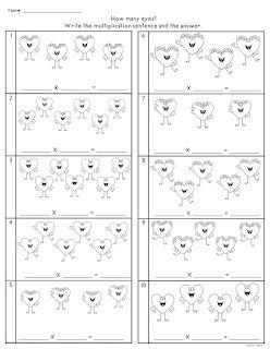 Equal Groups Valentine Worksheet