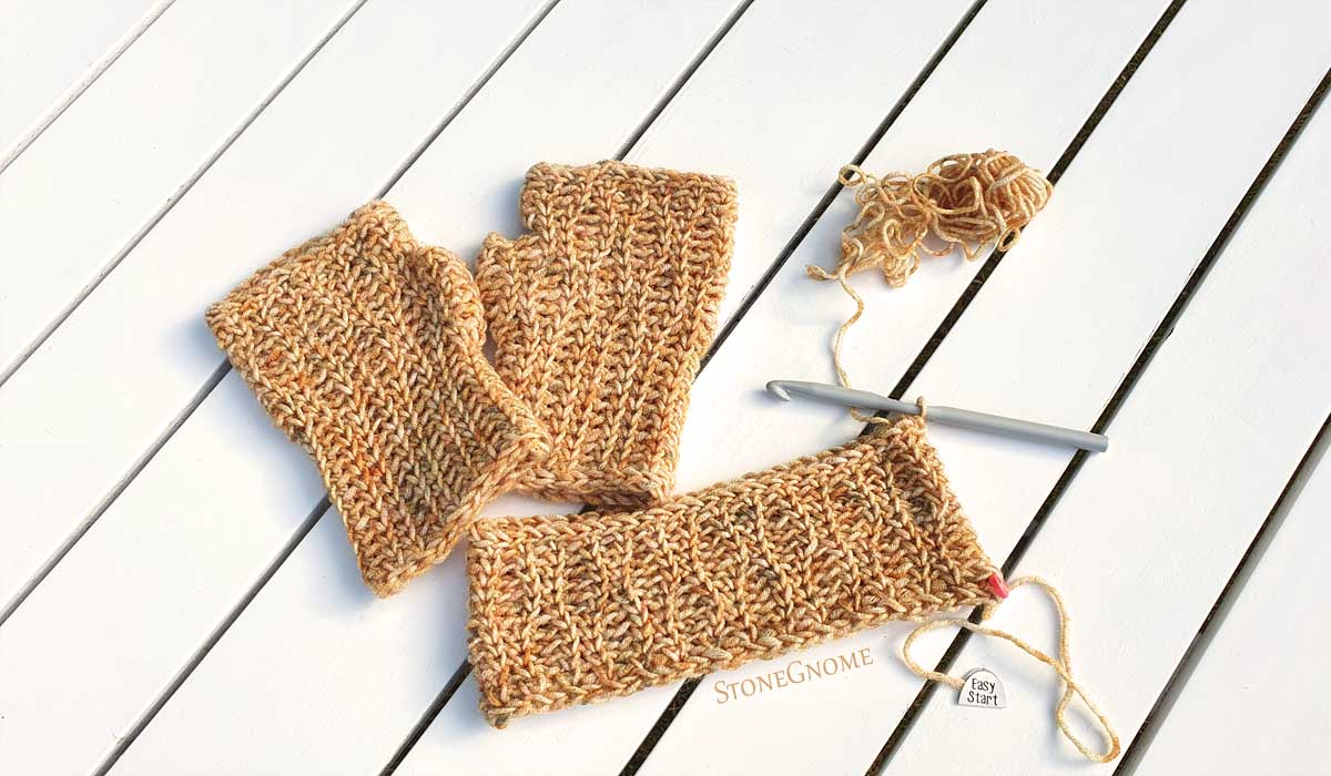 Crocheted ear warmer n gloves