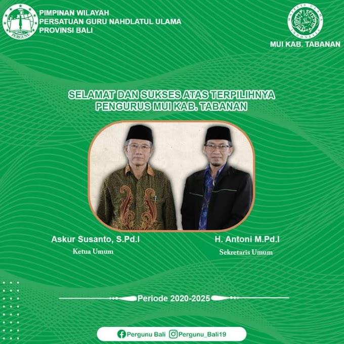 Wakil Ketua III PW Pergunu Bali Terpilih Menjadi Ketua MUI Kabupaten Tabanan 2021-2025
