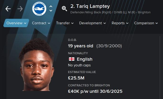 Tariq Lamptey FM21 Football Manager 2021 Wonderkid