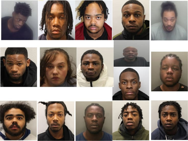 2 Nigerians, 14 gang members Bags 61 years Jail Sentence Over drug offence in UK