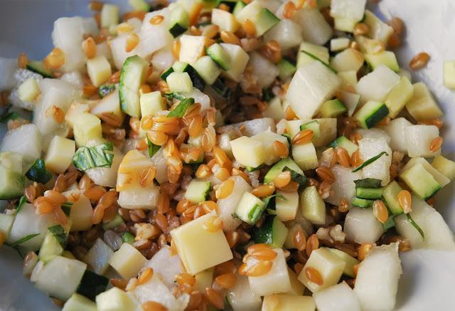 Salade épeautre-scamorza-melon