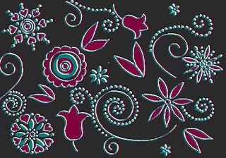 Muster mit Blumen und Punkten, bearbeitete Kreul-Vorlage