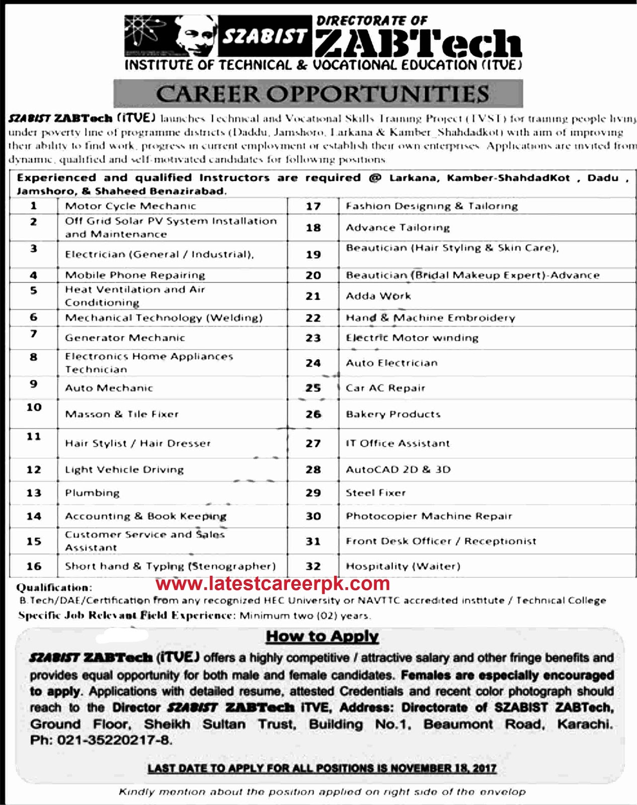 latest career pk 110817 jobs in institute of technical and vocational education itve 08 nov 2017 2017 11 08 archivehtml beautician job description 22