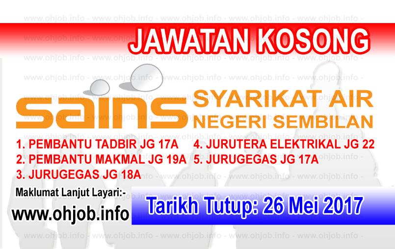 Jawatan Kerja Kosong Syarikat Air Negeri Sembilan (SAINS) logo www.ohjob.info mei 2017