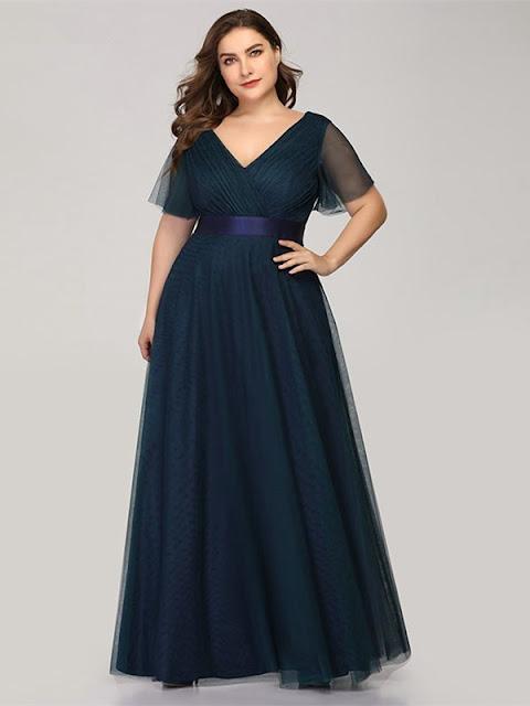 short sleeve plus size long prom dress