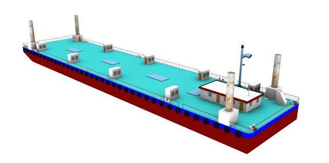 90m River Push Barge