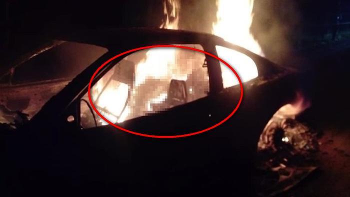 Hallan cuatro cuerpos calcinados y bien carbonizados al interinos de un auto abandonado sobre carretera de Oaxaca