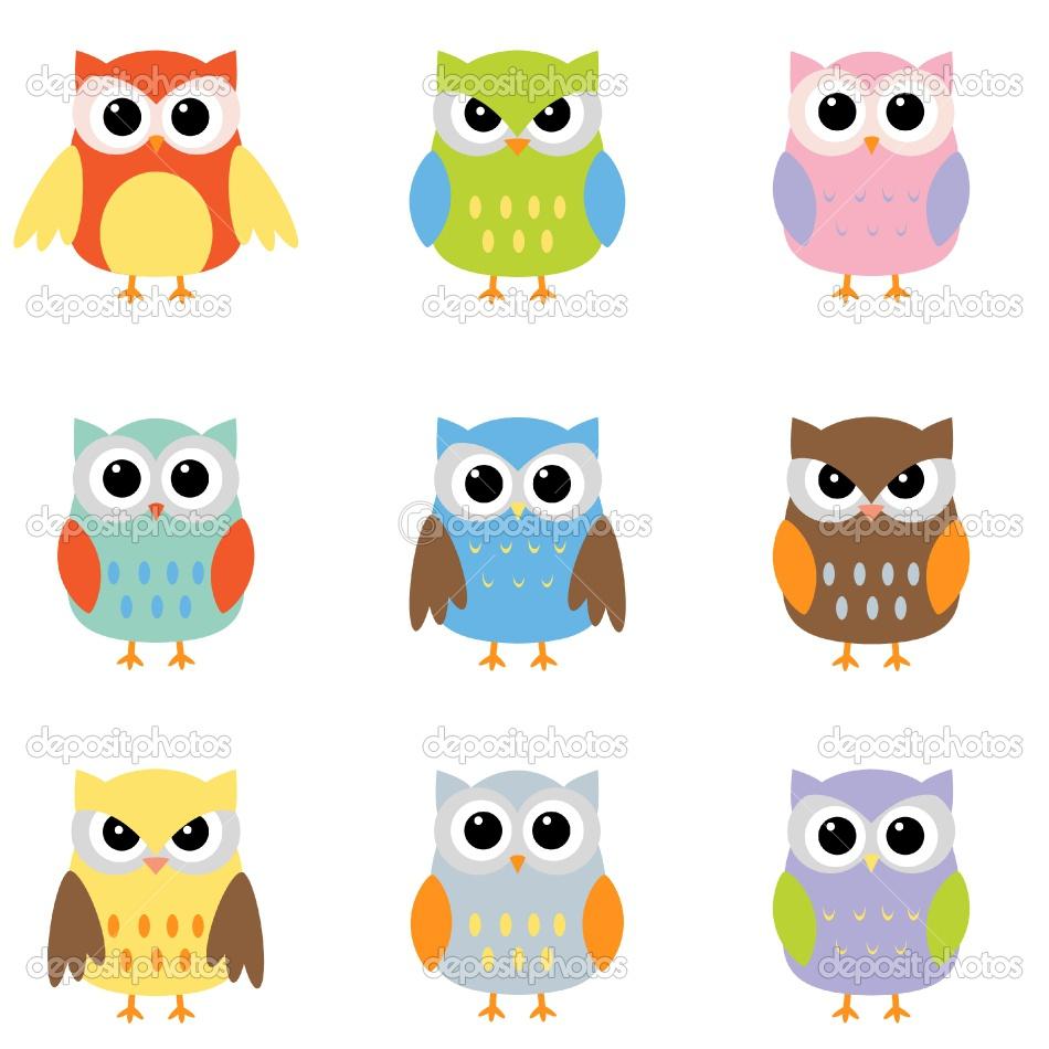 colorful cute owl vector -#main