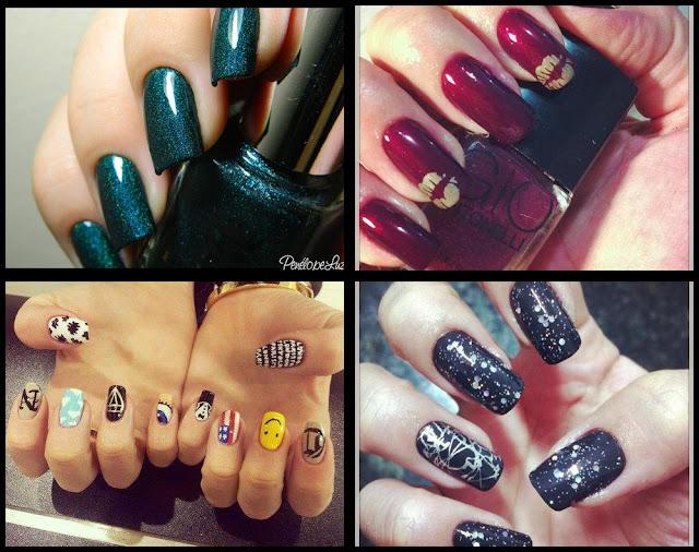 nail art verde; nail art vermelha; nail art divertida; nail art preta e prata