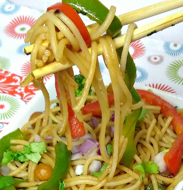Asian Noodle and Chickpea Stirfry - Home Sweet Homestead #MenuPlan