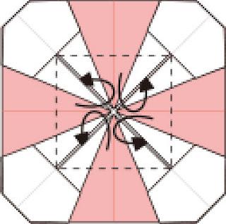 Bước 10: Gấp vào trong tại vị trí các nét đứt
