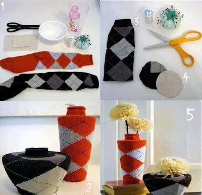 Manualidades : Manualidad para floreros con medias