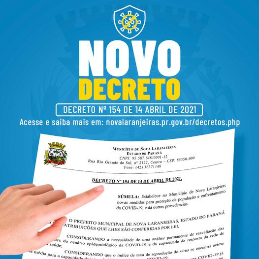 Nova Laranjeiras: Prefeitura divulga novo decreto referente ao enfrentamento da Covid-19