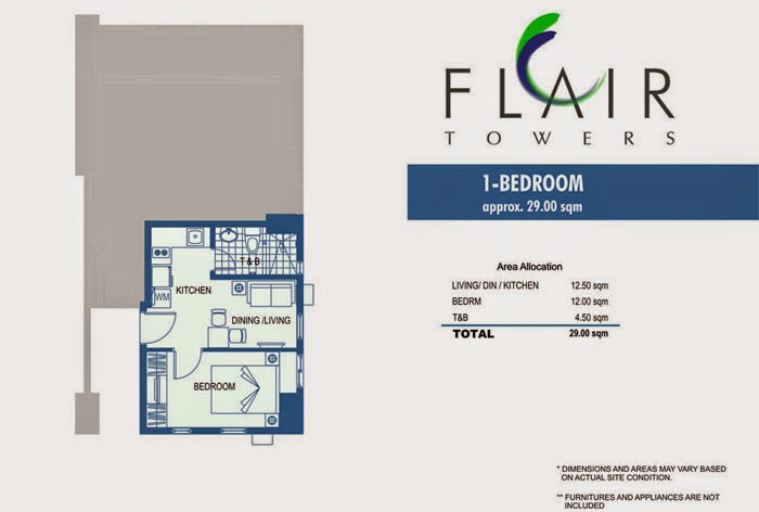 Flair Towers 1 Bedroom Unit 29.00 sqm.