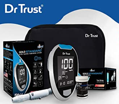 Dr Trust (USA) Fully Automatic Blood Sugar Testing Glucometer Machine with 60 Strips and Unique Features