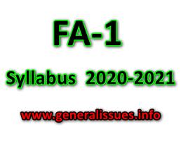 Class wise FA-1 Syllabus  2020-2021