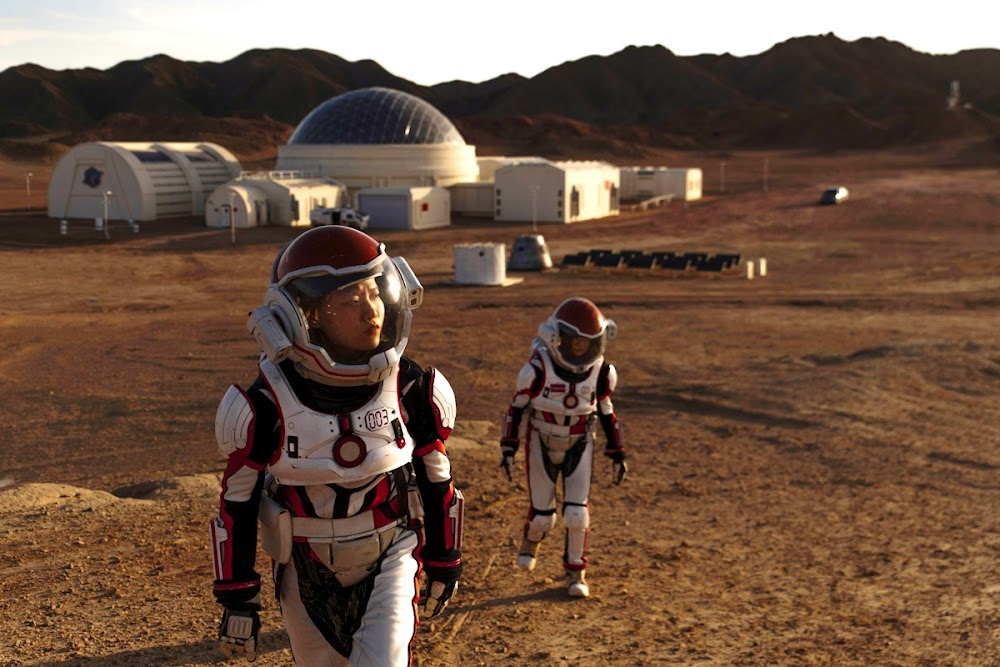 Walking around China's C-Space Mars simulation base in Gobi desert - photo by Matjaž Tančič