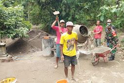 Kodim Sragen -  Gotong Royong Buat Talud, Salah Satu Kepedulaian Babinsa Tegalrejo