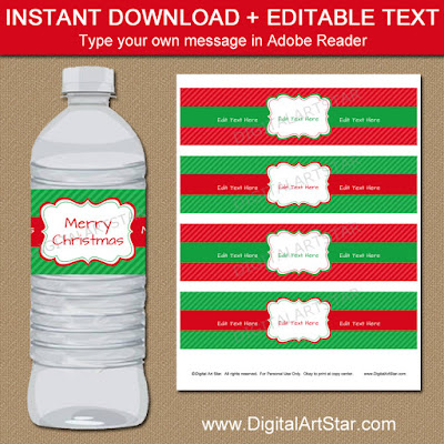 printable christmas bottle wraps