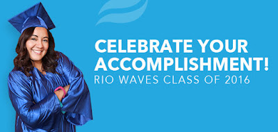 Image of a student in cap and gown.  Text: Celebrate your accomplishment! Rio Waves Class of 2016.