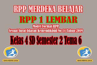 RPP Merdeka Belajar SD Kelas 4 Semester 2. RPP 1 Lembar SD Kelas 4 Semester 2 Tema 6