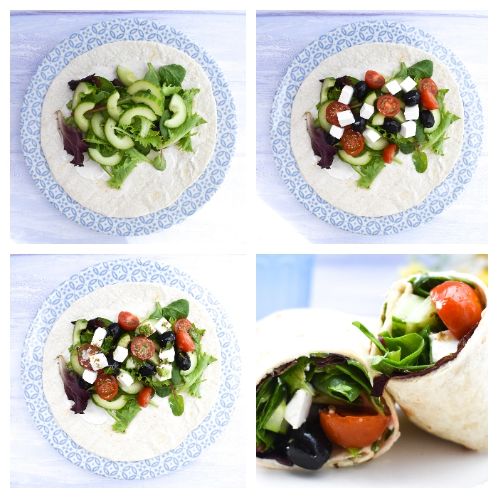 Making Greek Salad Lunch Wrap - step 2 - adding salad and dressing, then folding the wrap