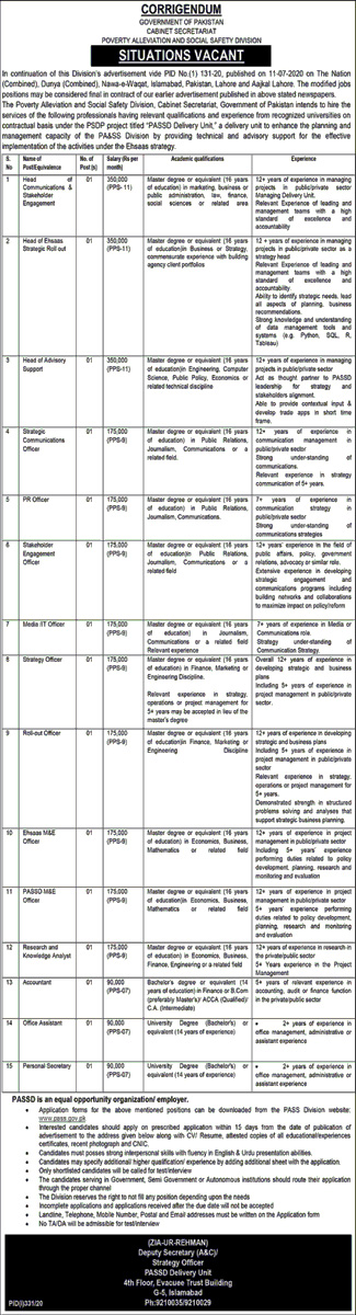 Cabinet Secretariat Poverty Alleviation And Social Safety Division Jobs July 2020