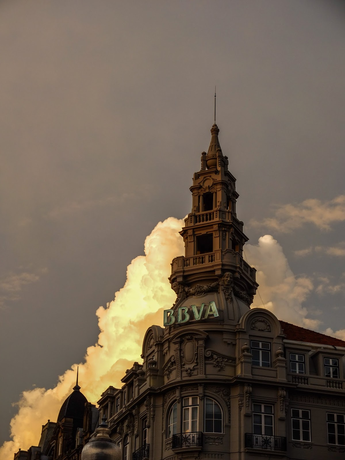 BBVA Bank building at sunset in Porto, Portugal.