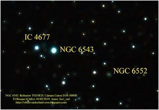 Recorte de la zona de la nebulosa ojo de gato