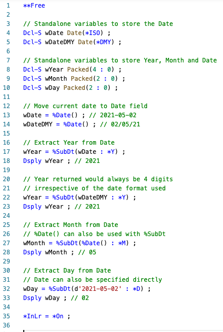 Extract Date, Month and Year from Date using %SUBDT - RPGLE