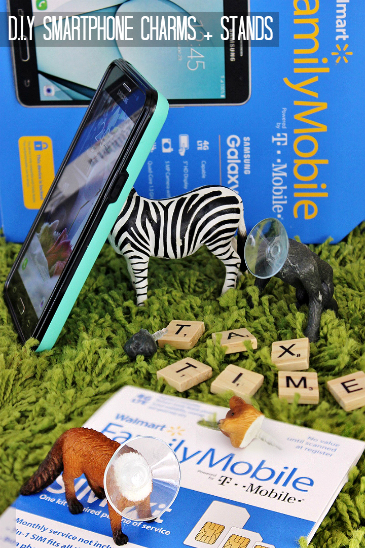 Turn children's animal action figures into handmade smartphone stands and charms in this easy D.I.Y. #YourTaxCash #AD