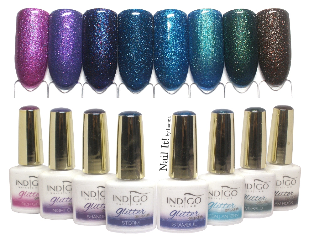 Indigo Nails Gel Polish Glitter - swatches of 8 shades (Rich Girl, Night Out, Shanghai, Storm, Istambul, Green Lantern, Emerald, Glam Rock)