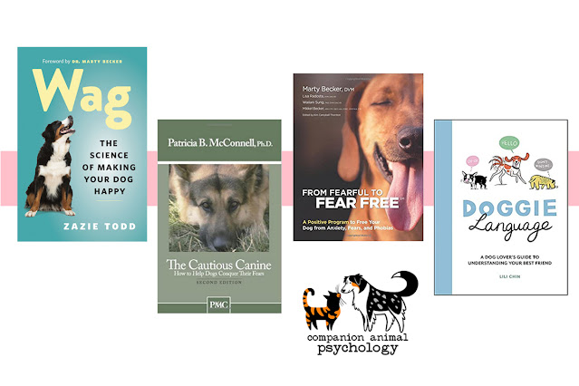 The top ten books on Companion Animal Psychology in 2020. The top four titles are pictured: Wag, The Cautious Canine, From Fearful to Fear Free, and Doggie Language