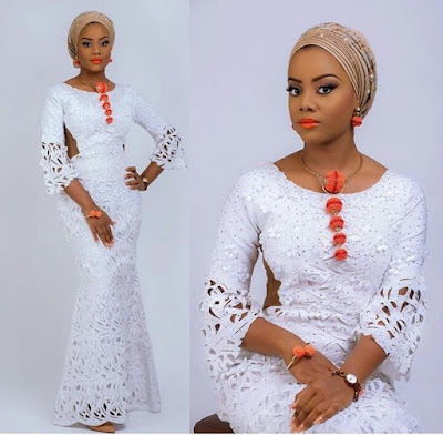 Latest White Lace Styles for Aso Ebi and Owambe