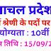 हिमाचल प्रदेश में चतुर्थ श्रेणी के पदों पर सरकारी नौकरी