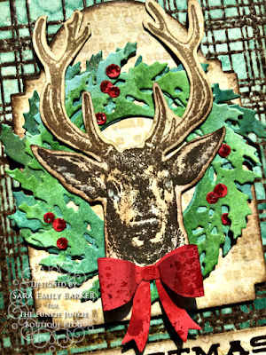 Sara Emily Barker https://sarascloset1.blogspot.com/2020/07/christmas-all-ready.html Rustic Christmas Card Tutorial #timholtz #yuletide #wreath&snowflake #lumberjack 6