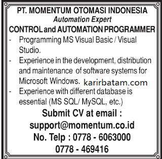 Lowongan Kerja PT. Momentum Otomoasi Indonesia