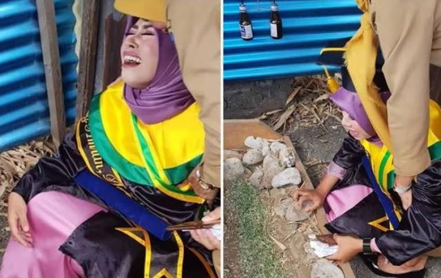 Viral, Kisah Pilu Mahasiswi yang Datangi Kuburan di Hari Wisuda, Menangis Histeris Pakai Toga Lengkap di Samping Makam Ibu