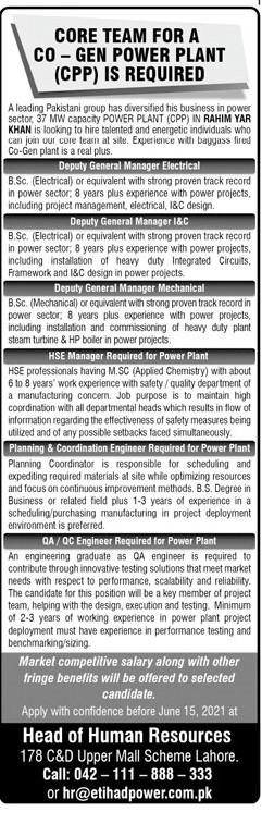 CO-GEN Power Plant (CPP) Jobs 2021 in Pakistan