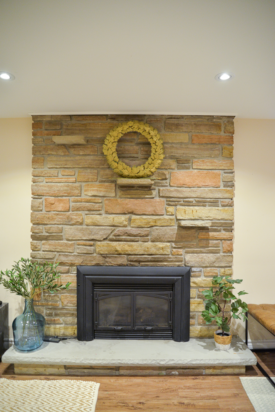 fireplace remodel, stone fireplace makeover, basement remodel, basement layout, basement ideas, one room challenge basement