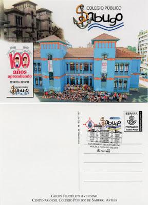 Postal prefranqueada del Centenario del Colegio de Sabugo en Avilés 2019