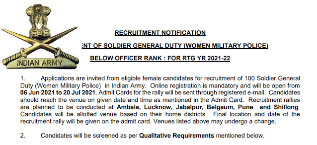 Indian Army Recruitment - 100 Soldier General Duty - Last Date: 20th July 2021