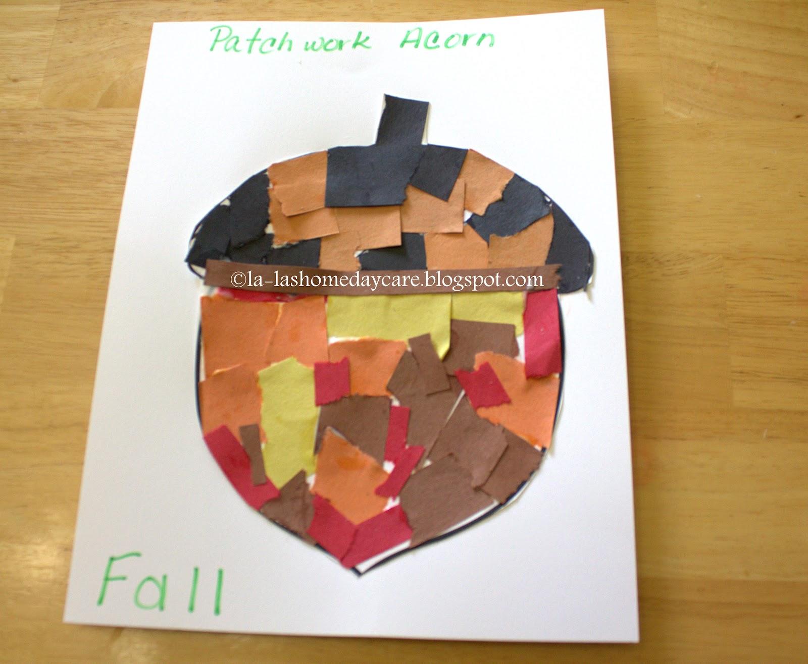 La La S Home Daycare Torn Paper Patchwork Acorn Craft