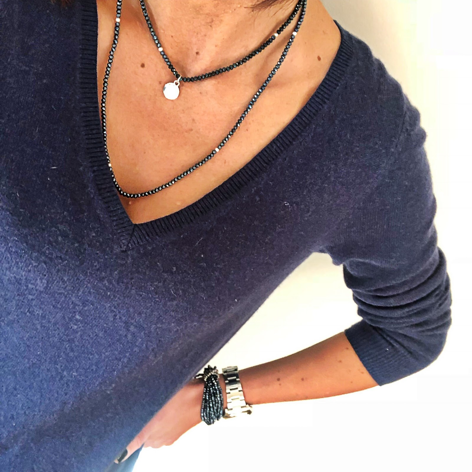 my midlife fashion, olia jewellery, olia jewellery drew necklace, olia jewellery grace bracelets, boden cashmere relaxed fit v neck jumper, hush turn up boyfriend jeans, marks and spencer stiletto side zip ankle boots